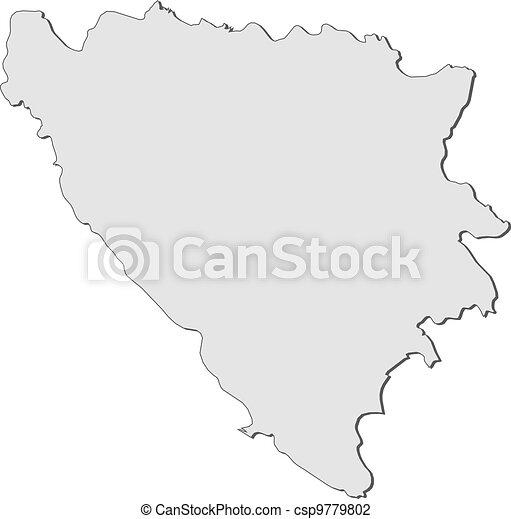Map of Bosnia and Herzegovina - csp9779802