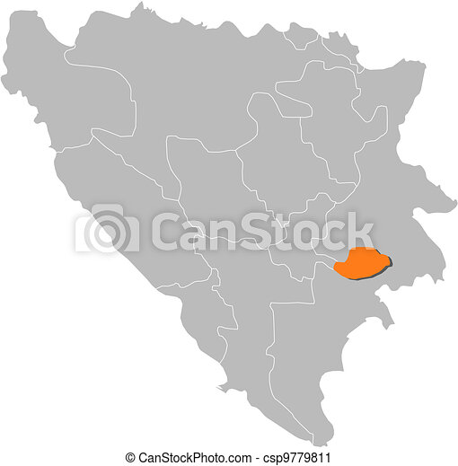 Map of Bosnia and Herzegovina, Bosnian Podrinje highlighted - csp9779811