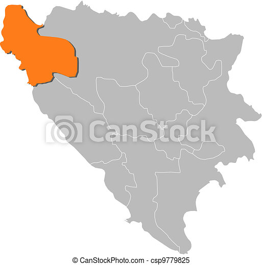 Map of Bosnia and Herzegovina, Una-Sana highlighted - csp9779825
