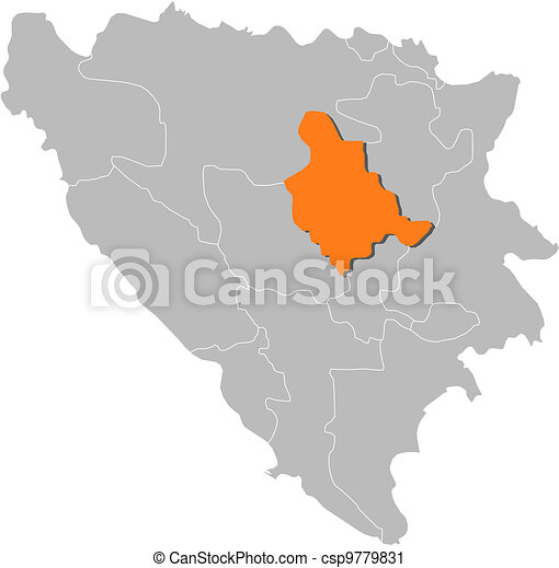 Map of Bosnia and Herzegovina, Zenica-Doboj highlighted - csp9779831