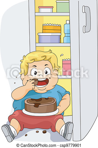 Overweight Boy Eating - csp9779901