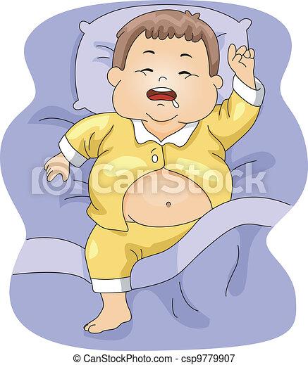 Overweight Boy Sleeping - csp9779907