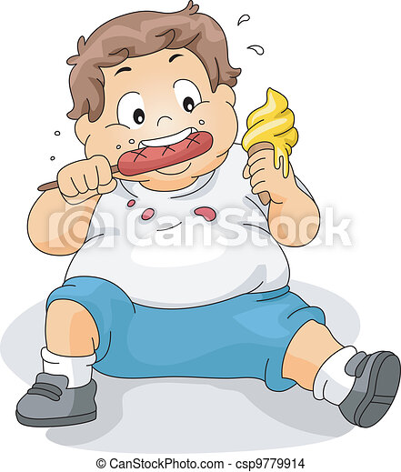 Overweight Boy Eating - csp9779914