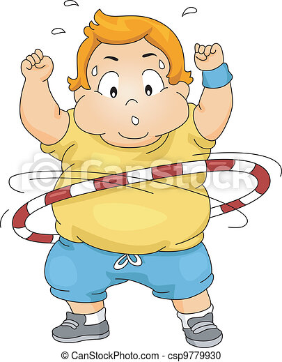 Overweight Boy Using a Hula Hoop - csp9779930