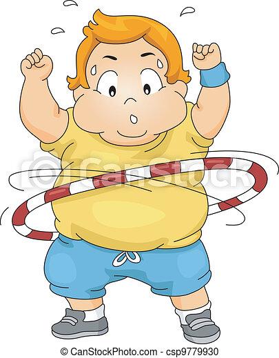 Overweight Boy Using a Hula Hoop - csp9779930