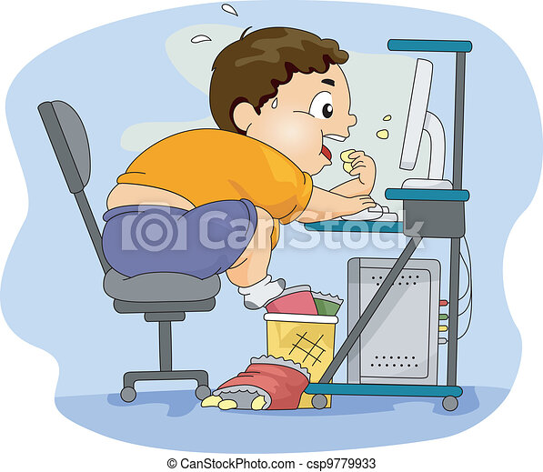 Overweight Boy Eating - csp9779933