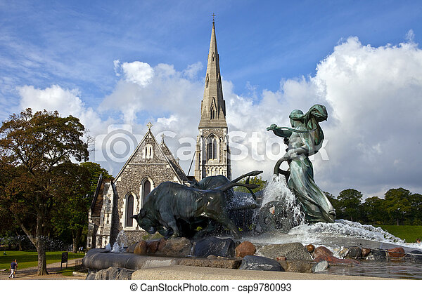 Saint Alban's Church & Gefion Fountain, Copenhagen - csp9780093