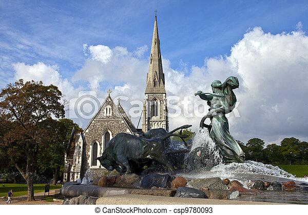Saint Alban's Church & Gefion Fountain, Copenhagen - csp9780093