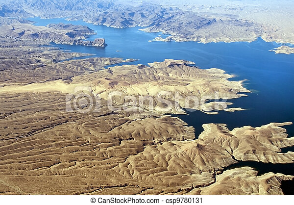 Aerial view of Colorado River and Lake Mead - csp9780131