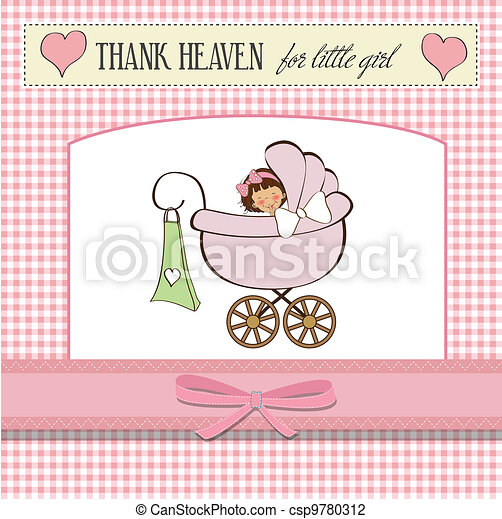 baby girl announcement card  - csp9780312