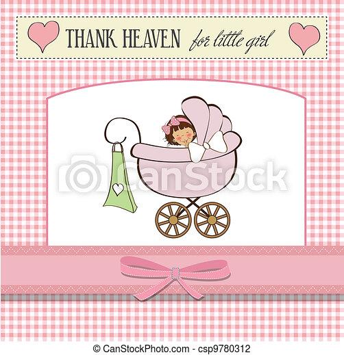 baby girl announcement card  - csp9780312