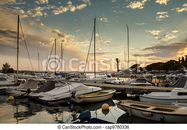 Cruise boats in Adriatic sea with sunset light - csp9780336