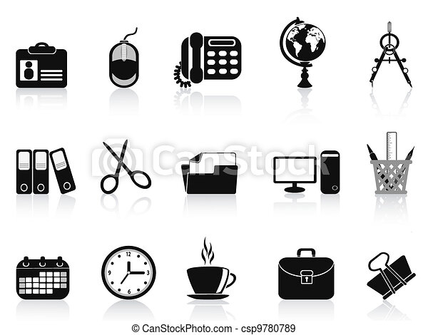 Vecteurs eps de noir ensemble outils bureau ic ne for Herramientas de oficina