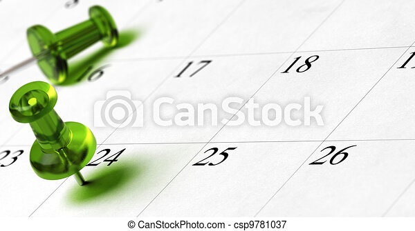 planning document with green thumbtack pushed on the number 24 with room for text and blur effect - csp9781037