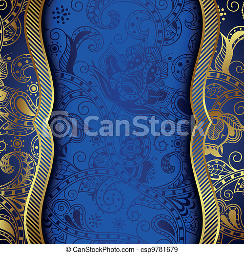 Ornate Gold and Blue Floral Backgro - csp9781679