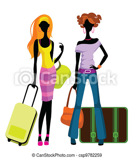 Girls with suitcases - csp9782259