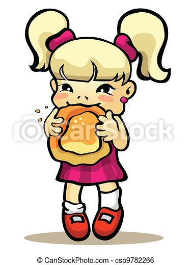 Girl eating bun - csp9782266