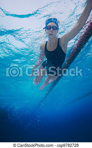 sportsman swimming in crawl style - csp9782728