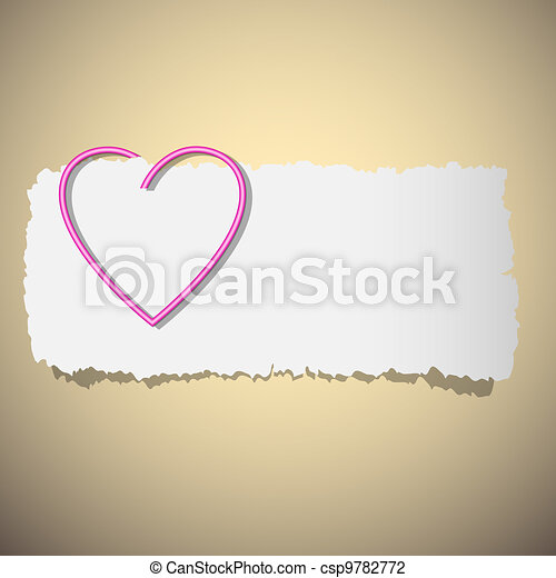Heart shaped paper clip - csp9782772