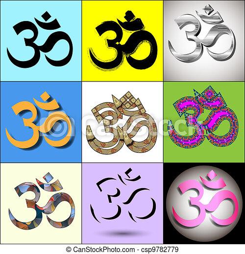 Various Om Aum Symbol - csp9782779