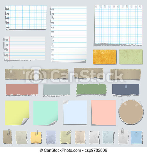 Vector set of various notes paper - csp9782806
