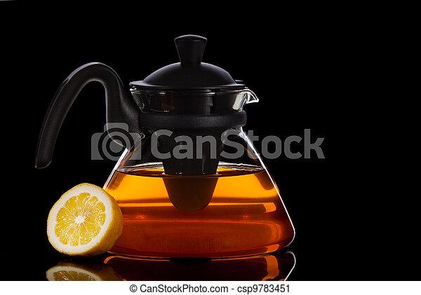 Tea in transparent glass pot - csp9783451