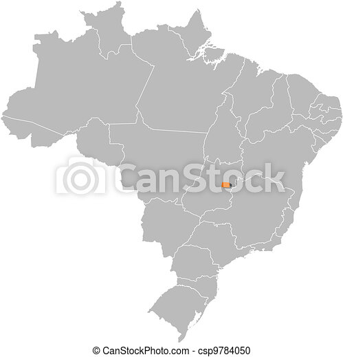 Map of Brazil, Brazilian Federal District highlighted - csp9784050