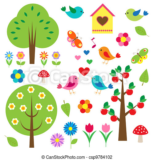 Birds and trees. Vector set - csp9784102