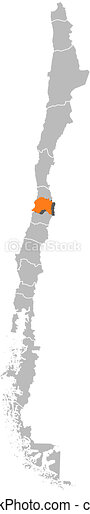 Map of Chile, Metropolitan Region highlighted - csp9785366