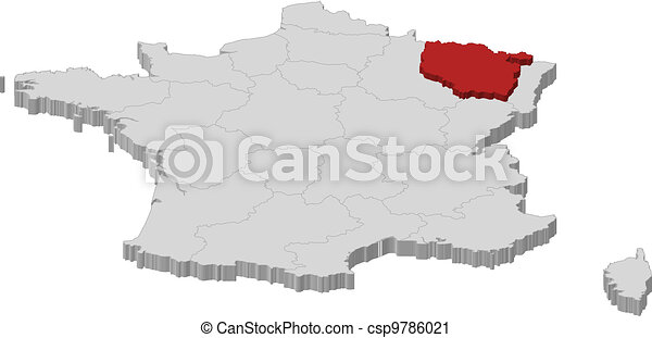 Map of France, Lorraine highlighted - csp9786021