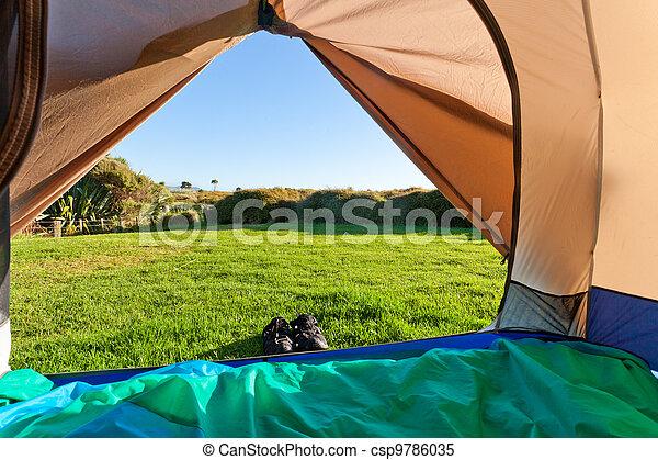 Green meadow and forest seen thru open tent door - csp9786035