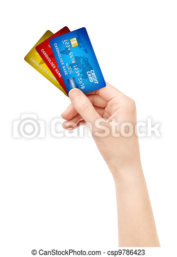 Hand holding pack of credit card isolated - csp9786423