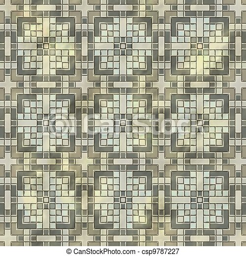 Ancient mosaic floor. Seamless texture. - csp9787227