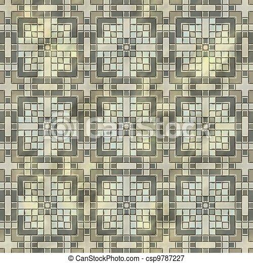 Ancient mosaic floor. Seamless texture. - csp9787227