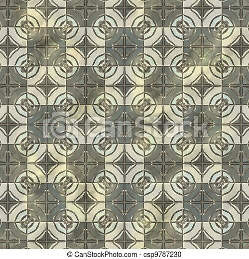 Ancient mosaic floor. Seamless texture. - csp9787230