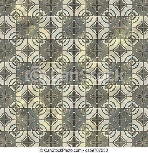 Ancient mosaic floor. Seamless texture. - csp9787230