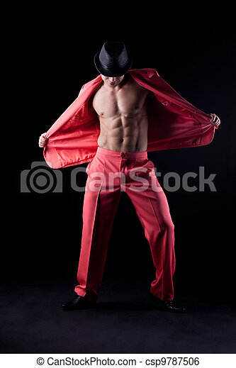 Sexy man in red suit - csp9787506