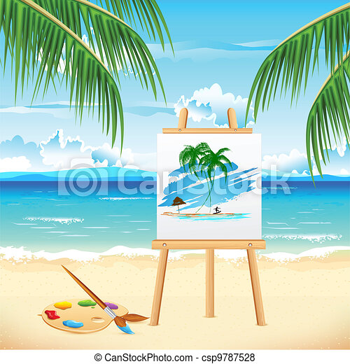 Painting of Sea Beach - csp9787528