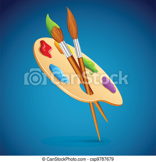 Paint Brush and Pallet - csp9787679