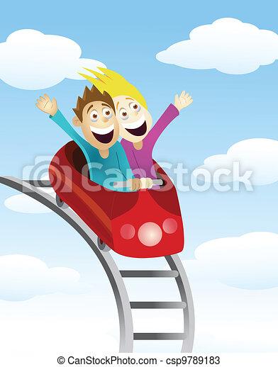 Man and women an a roller coaster  - csp9789183