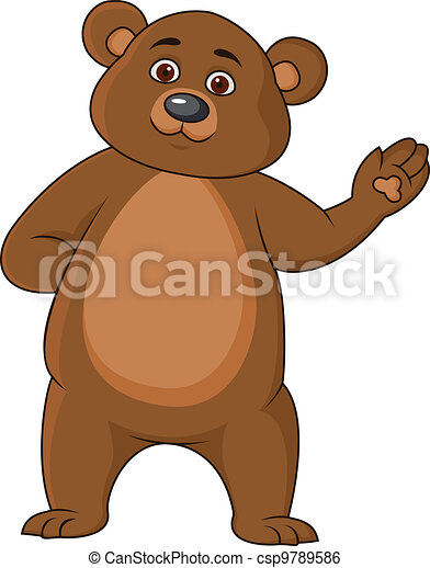 Funny bear cartoon waving hand - csp9789586