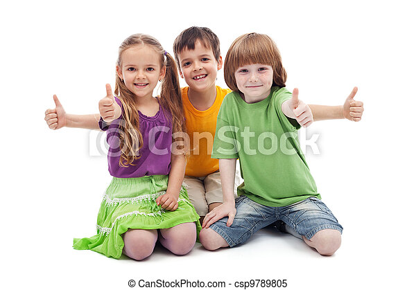 Three kids giving thumbs up sign - csp9789805