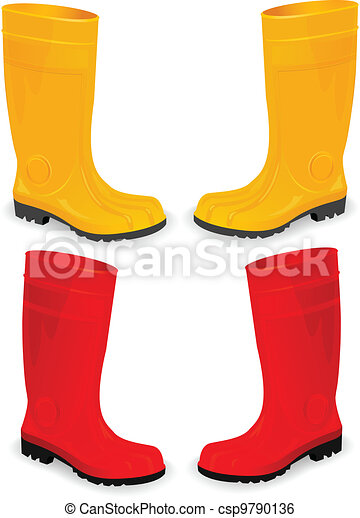 yellow and red rubber boots - csp9790136