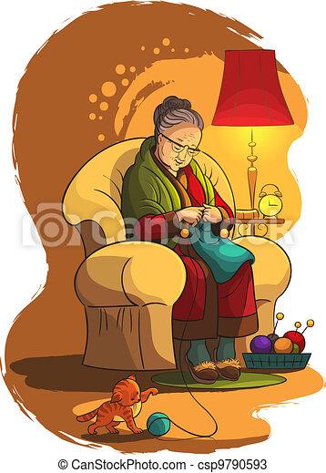 Grandmother knittin in armchair - csp9790593