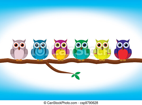 Funny colorful owls in a row - csp9790628