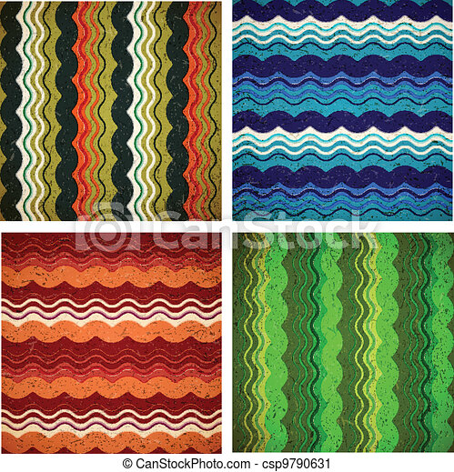 Collection of aged wavy patterns - csp9790631
