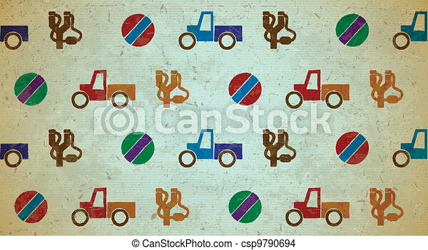Seamless aged pattern with toys - csp9790694