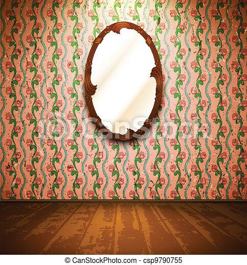 clipart vektor von weinlese zimmer spiegel blumen tapete csp9790755 suchen sie clipart. Black Bedroom Furniture Sets. Home Design Ideas
