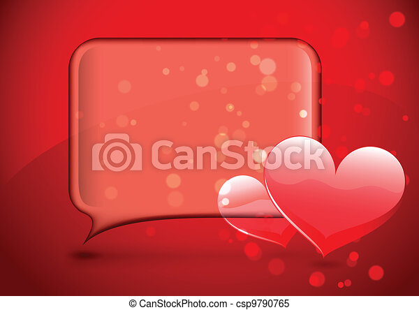 Glass speech bubble with hearts - csp9790765