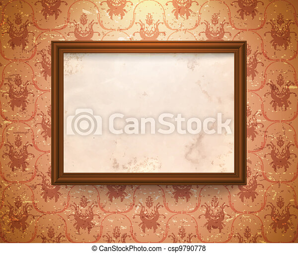 Aged frame on the wall - csp9790778